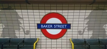baker st, london, with silhouette of Sherlock Holmes